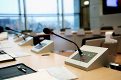 Microphones in the conference room Stock Images
