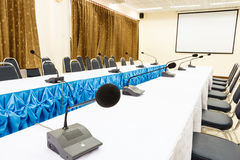 Microphones in a conference room Stock Photography
