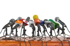 Microphones of different mass media, radio, tv and press prepare Royalty Free Stock Images
