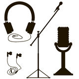 Microphones and earphones Royalty Free Stock Image