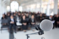 Microphones on the funeral podium royalty free stock images