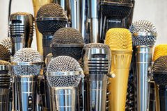 Microphones. Group of microphones - close up Royalty Free Stock Image
