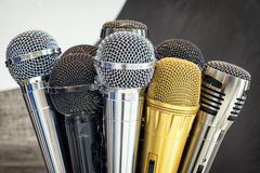 Microphones. Group of microphones - close up Stock Photography