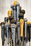 Microphones. Group of microphones - close up Stock Photos