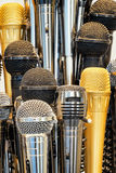 Microphones. Group of microphones - close up Stock Images
