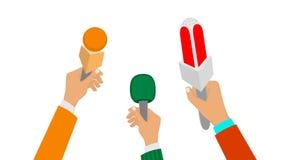 Microphones in the hands of journalists stock video footage