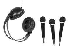 Microphones and headphones Royalty Free Stock Images