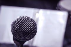 Microphones on lyric background. Royalty Free Stock Photos