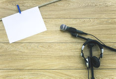 Microphones on lyric background. Stock Photography
