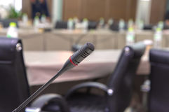 microphones in meeting room before a conference Stock Photo