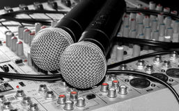 Microphones and a mixer Stock Image