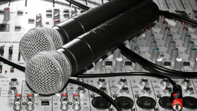 Microphones and a mixer Royalty Free Stock Photo