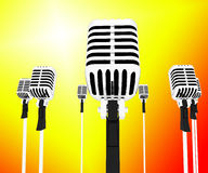 Microphones Musical Shows Music Group Songs Or Singing Hits. Microphones Musical Showing Music Group Songs Or Singing Hits Royalty Free Stock Photo