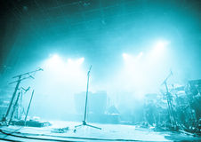 Microphones On Empty Stage Waiting For Musicians To Come Royalty Free Stock Photography