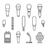Microphones outline icons stock illustration