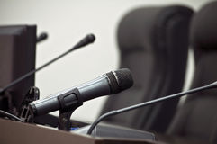 Microphones in press-center Royalty Free Stock Photos
