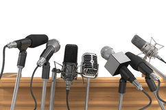 Microphones. Press Media Conference A Microphones Stock Images