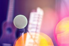 Microphones and recording equipment in the studio. Microphone with professional audio mixer in the control room royalty free stock photography