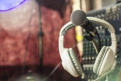 Microphones and recording equipment. Microphones and recording equipment in the studio royalty free stock photos