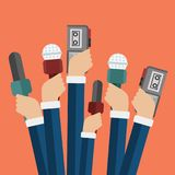 Microphones in reporter hands. Set of microphones and recorders isolated on blue background. Mass media, television. Interview, breaking news, press conference stock illustration