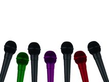 Microphones for reporter on isolated white background stock photos