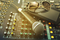 Microphones. Retro Microphones and recorders Stock Photo