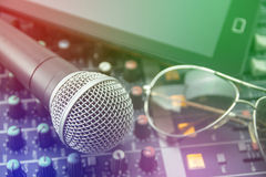 Microphones . Retro Microphones and recorders in the office Royalty Free Stock Photos