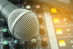 Microphones. Retro Microphones and recorders in the office.n Royalty Free Stock Photography