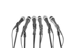 Microphones in row Royalty Free Stock Image