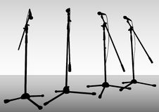 Microphones on stage Stock Image
