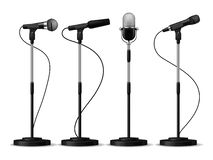Microphones on stands. Stage standing microphones, studio mic for singing with counters. Concert audio equipment vector royalty free illustration