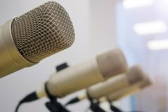Microphones in the Studio on a light background. Radio Studio stock image