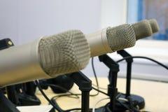 Microphones in the Studio on a light background. Radio Studio royalty free stock photos