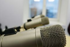 Microphones in the Studio on a light background. Radio Studio royalty free stock images