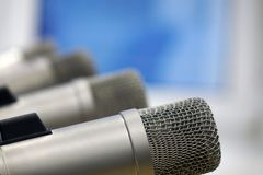 Microphones in the Studio on a light background. Radio Studio royalty free stock photo