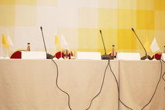 Microphones on a table Stock Images