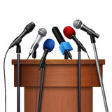 Microphones And Tribune For Conference Set Stock Photo
