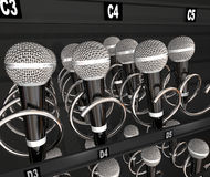 Microphones Vending Snack Machine Talent Singing Competition. Microphones in a snack or vending machine to illustrate a talent or singing contest, show or Stock Photography