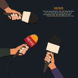 Microphones and voice recorder in hands of reporters on press conference or interview. Journalism concept. Stock Photo