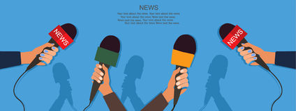 Microphones and voice recorder in hands of reporters on press conference or interview. Journalism concept.Vector Royalty Free Stock Photography