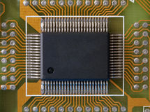 Microphoto of an integrated microcircuit Stock Photo