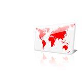 Microplaqueta branca e vermelha do mapa de mundo no fundo branco simples Imagens de Stock Royalty Free