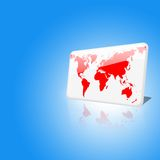 Microplaqueta branca e vermelha do mundo no fundo do céu azul ilustração royalty free
