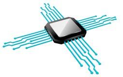 Microplaqueta, circuito, microchip, computadores, tecnologia Fotografia de Stock