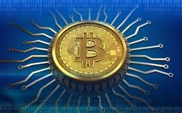 microplaqueta 3d integrada bitcoin Fotos de Stock Royalty Free
