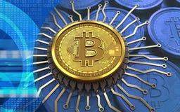microplaqueta 3d integrada bitcoin Fotografia de Stock Royalty Free