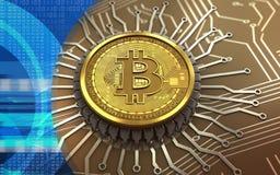 microplaqueta 3d integrada bitcoin Fotos de Stock