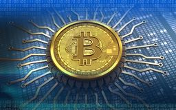 microplaqueta 3d integrada bitcoin Imagem de Stock Royalty Free