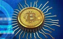 microplaqueta 3d integrada bitcoin Imagem de Stock