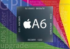 Microplaqueta de Apple A6 Imagens de Stock